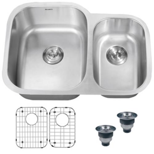 Designer Collection 30.325-inch 18 Gauge 70/30 Double Bowl Kitchen Sink