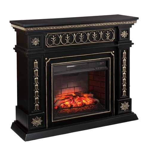 Southern Enterprises Lockport 47 in. W Infrared Electric Fireplace in Black