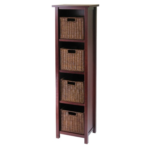 Winsome Wood Milan Wood 5 Tier Open Cabinet in Antique Walnut Finish and 4 Rattan Baskets in Antique Walnut Finish [Brown, antique walnut basket]