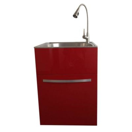 Presenza All-in-One 24.2 in. x 21.3 in. x 33.8 in. Stainless Steel Utility Sink and Large Empire Red Drawer Cabinet