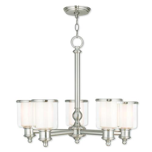 Livex Lighting Middlebush Glass Brushed Nickel 5-Light Chandelier