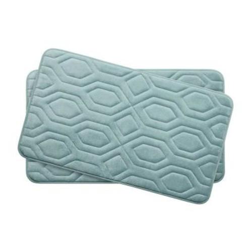 BounceComfort Turtle Shell Aqua 17 in. x 24 in. Memory Foam 2-Piece Bath Mat Set