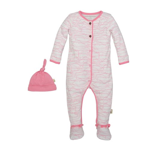 Burt's Bees Baby 2 Piece White/Pink Printed Organic Footie with Pink Hat Set