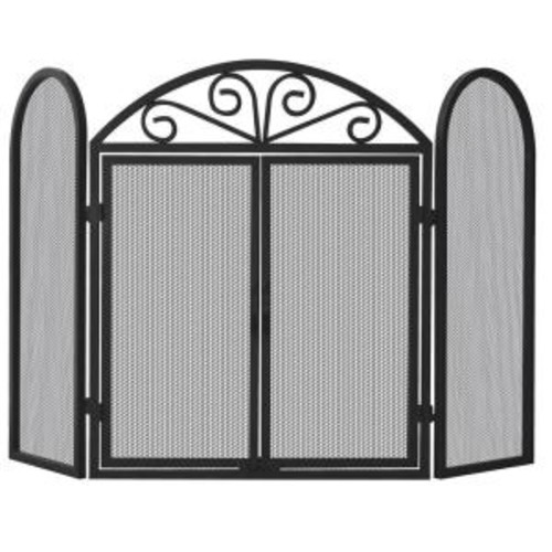 UniFlame Black Wrought Iron 3-Panel Fireplace Screen with Opening Doors