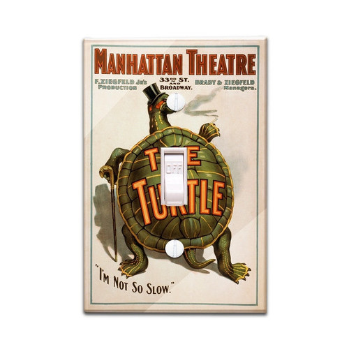 Manhattan Theatre NY Broadway Turtle - Vintage Ad (Light Switchplate Cover)