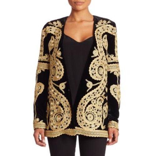 FOR LOVE & LEMONS Paris Silk Blend Velvet Embroidered Blazer