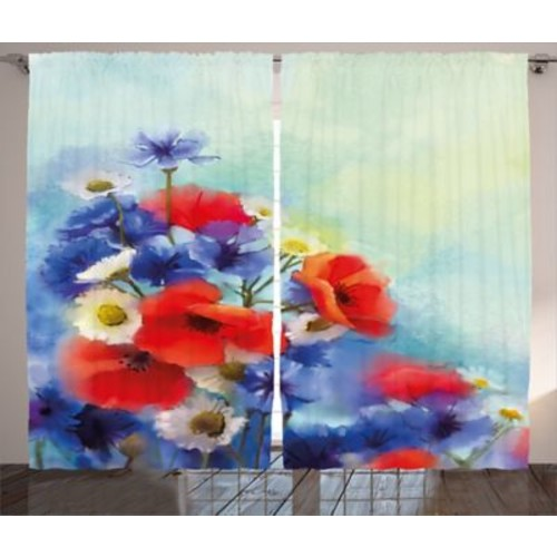 Chateaugay Watercolor Flower Graphic Print and Text Semi-Sheer Rod Pocket Curtain Panels (Set of 2)