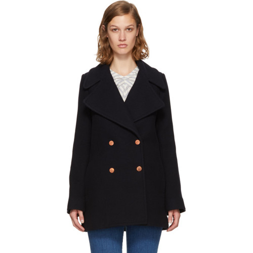 SEE BY CHLOÉ Navy Wool Double-Breasted Coat