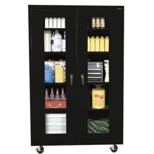 Sandusky Lee TA4V462472-09 Elite Series Transport Mobile Clear View Storage Cabinet, Black [Black, 46 x 24 x 72]