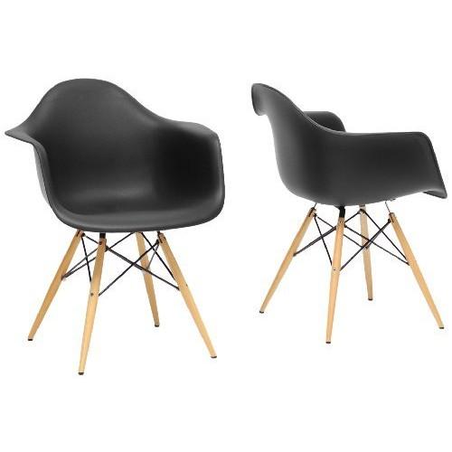 Baxton Studio Pascal Plastic Mid-Century Modern Shell Chair, Black, Set of 2 [Black]