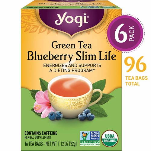 Yogi Tea, Blueberry Slim Life Green Tea, 16 Count (Pack of 6), Packaging May Vary