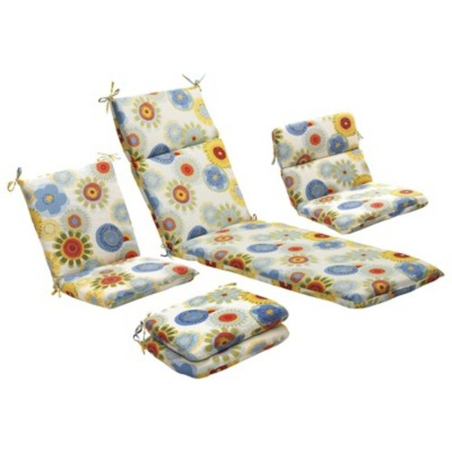 Outdoor 2-Piece Lumbar Toss Pillow Set - Blue/White/Yellow Floral 24\