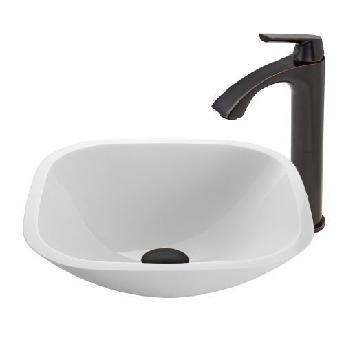 VIGO Square Shaped White Phoenix Stone Vessel Sink and Linus Faucet Set in Antique Rubbed Bronze Finish