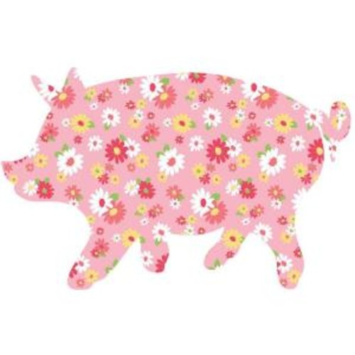 ZooWallogy 31 in. x 20 in. Scarlett the Pig Wall Decal