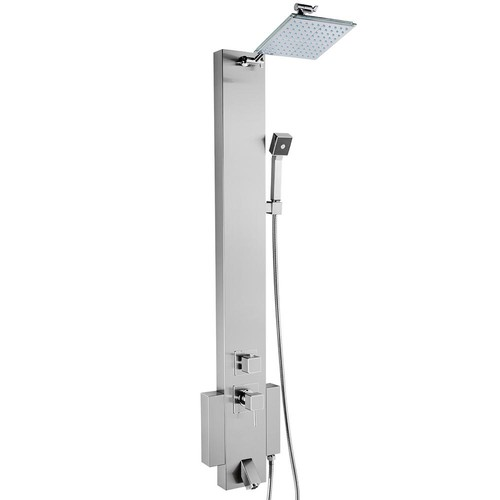 AKDY 48 in. Shower Panel System in Stainless Steel with Rainfall Shower Head, Hand Shower and Tub Spout (Valve Included)