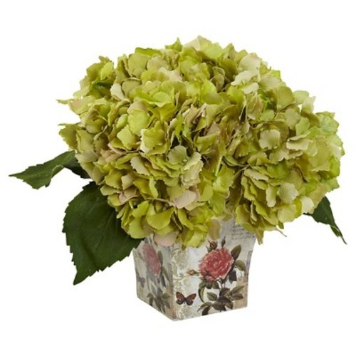 Hydrangea Silk Arrangement with Floral Planter - Nearly Natural