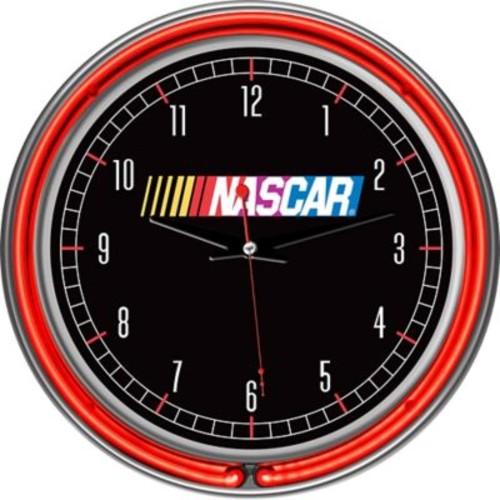 Trademark Global Chrome Double Ring Analog Neon Wall Clock, NASCAR