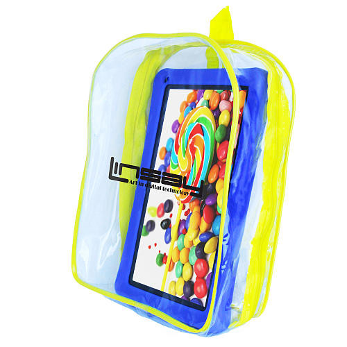 LINSAY 10.1 inch Quad Core New Kids Funny Tablet with Backpack - Blue