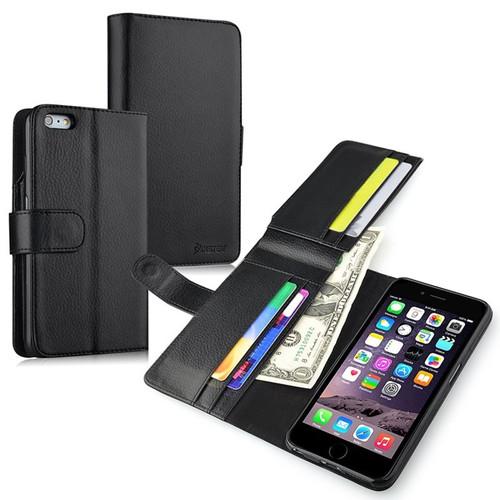 Insten 1990900 Folio Flip Leather Wallet Flap Pouch Case Cover Compatible With Apple iPhone 6 Plus/6s Plus, Black