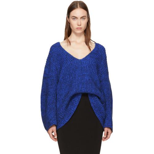 T BY ALEXANDER WANG Blue Bracelet Sleeve V-Neck Sweater