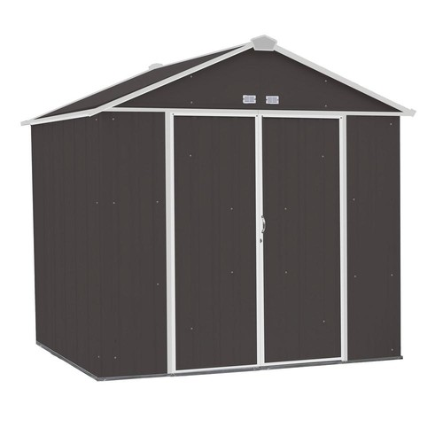Arrow EZEE Shed 8 ft. x 7 ft. Galvanized Steel Charcoal/Cream Trim High Gable
