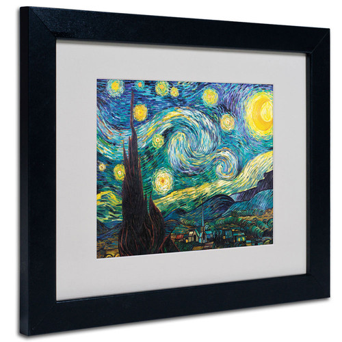 Trademark Global Vincent van Gogh 'Starry Night' Matted Framed Art [Overall Dimensions : 11x14]