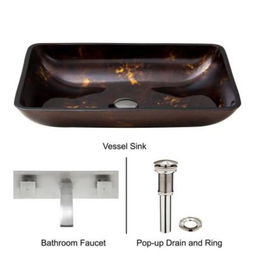 VIGO Rectangular Glass Vessel Sink in Brown and Gold Fusion with Wall-Mount Faucet Set in Brushed Nickel