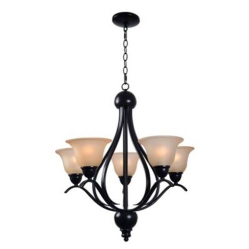 Kenroy Home Harris 5-Light Ceiling Mount Tiered Chandelier in Bronze with Frosted Glass Shades