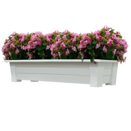 Adams Manufacturing 36 in. x 15 in. White Resin Deck Planter