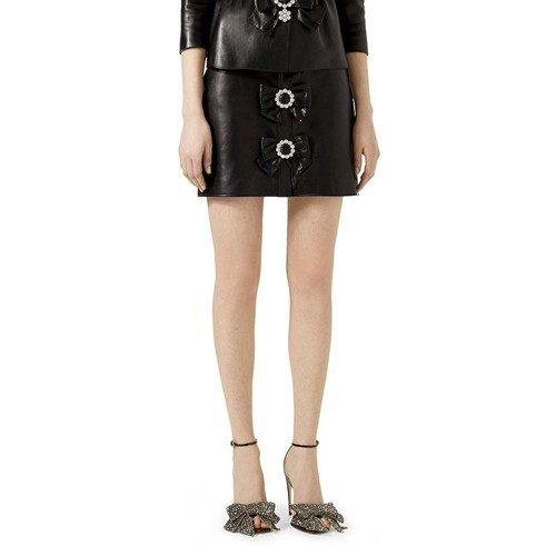 GUCCI Leather Bow Mini Skirt, Black