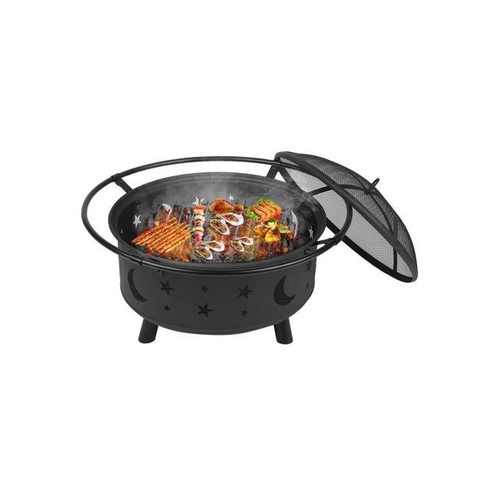 Outdoor Wood Burning Heater Steel Bowl Fire Pit Firepit BBQ Stove Star&Moon black