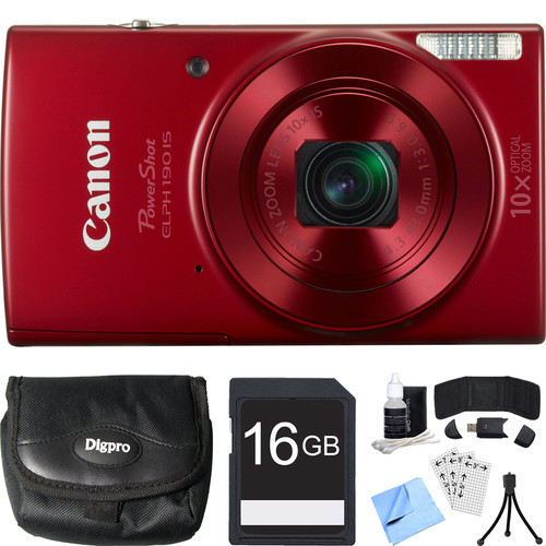 Canon PowerShot ELPH 190 IS Red Digital Camera w/ 10x Optical Zoom 16GB Card Bundle