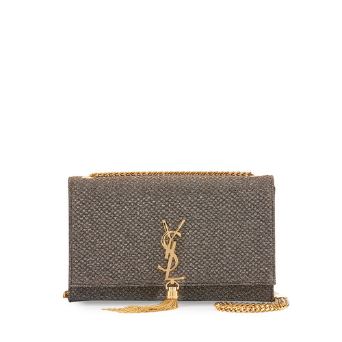 SAINT LAURENT Kate Monogram Medium Tassel Shoulder Bag, Gold/Silver