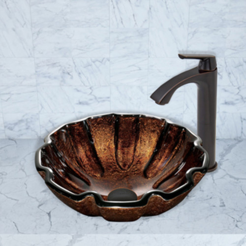 VIGO Walnut Shell Glass Vessel Sink and Linus Faucet Set in Antique Rubbed Bronze Finish