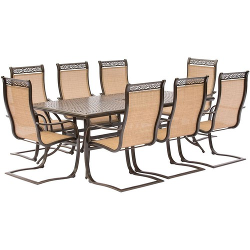 Hanover Manor 9-Piece Aluminum Rectangular Outdoor Dining Set with Spring Sling Chairs and Cast-Top Table