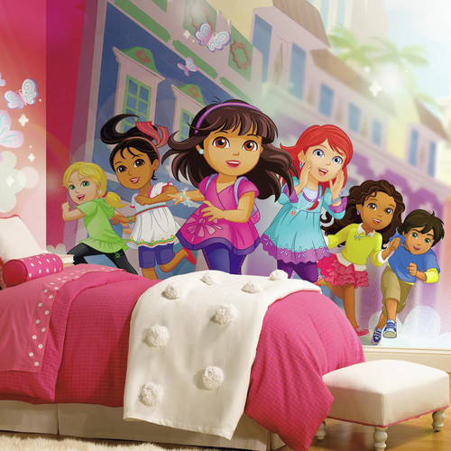 Dora and Friends XL Chair Rail Prepasted Mural 6' x 10.5' - Ultra-strippable
