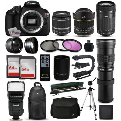 Canon T5 DSLR Camera + 18-55mm IS II + 55-250mm STM + 420-800mm + 128GB + More
