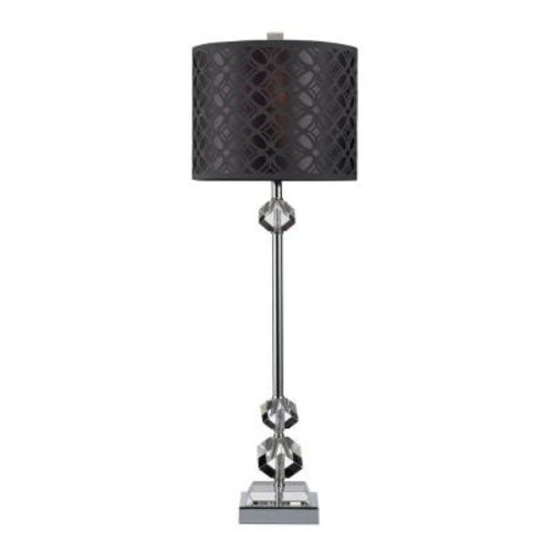 Titan Lighting Chamberlain 29 in. Chrome Table Lamp and Clear Crystal with Laser Cut Shade
