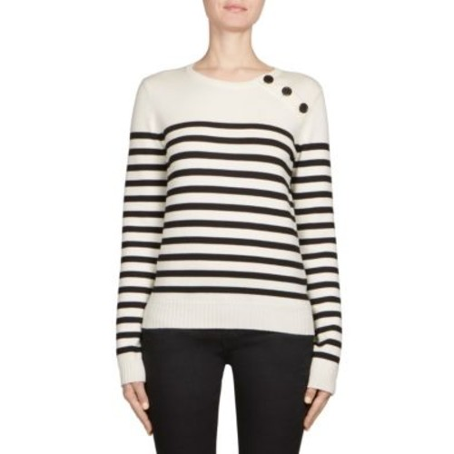 Striped Rib-Knit Wool Sweater