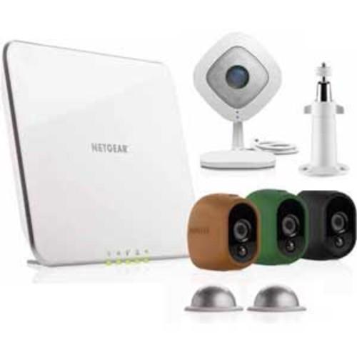 Arlo Security Camera Kit with 3 Wire-Free Outdoor HD & 1 Arlo Q 1080p Indoor HD Camera - White : VMK3200-100NAs
