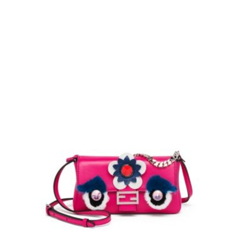 FENDI Embellished Rabbit Fur & Leather Micro Buggie Baguette