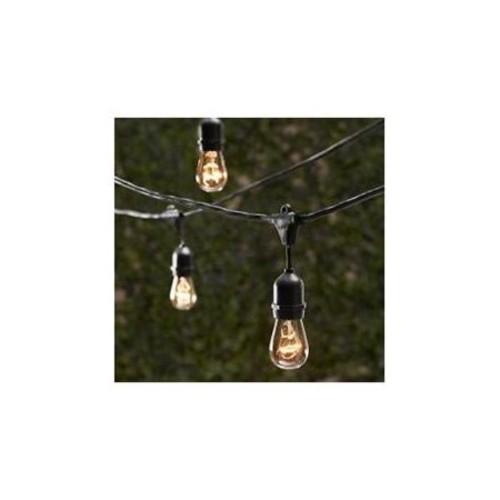 String Light Company SL5015BU Vintage Series 48-Ft Commercial String Lights with 15 Light Sockets and 15 Clear Bulbs