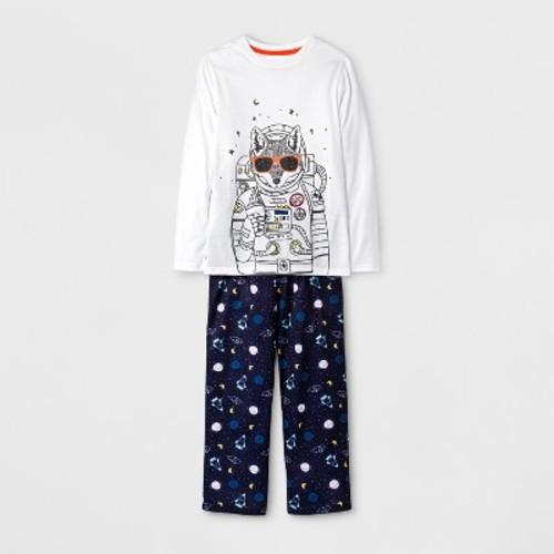 Boys' Long Sleeve Astronaut Wolf Pajama Set - Cat & Jack White