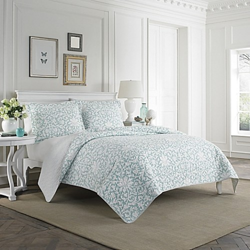 Laura Ashley Mia Twin Quilt Set in Light Blue