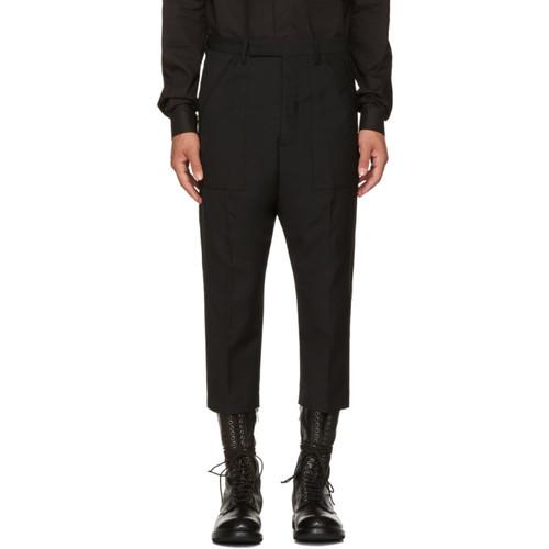 RICK OWENS Black Wool Cropped Cargo Pants