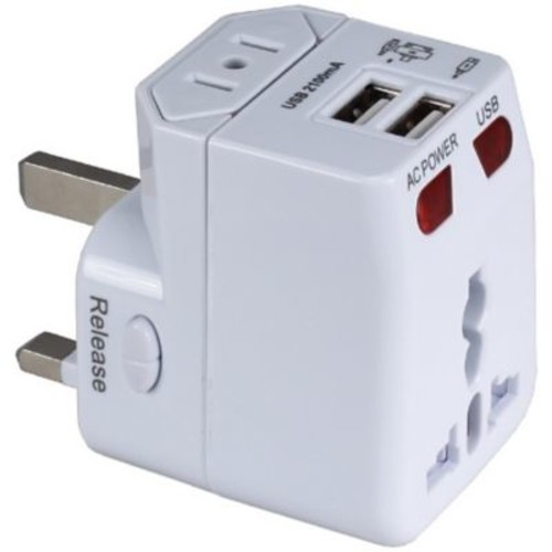 QVS Premium World Travel Power Adaptor with Surge Protection, White, Dual-USB (PA-C4)