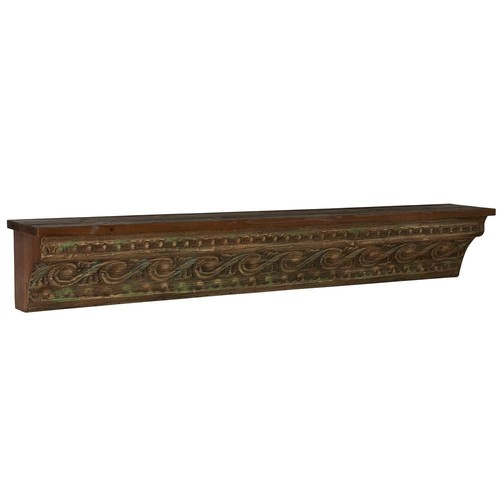 Household Essentials 45.25 in. x 7 in. Brown Banana Wall Skin Rack Floating Shelves