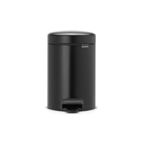 Brabantia 0.8 Gal. Matt Black Steel Step-On Trash Can