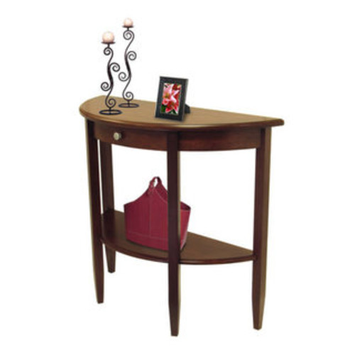 Winsome Concord Hall Wallnut Brown Wood Half Moon Console Table With Drawer and Shelf - Console Table