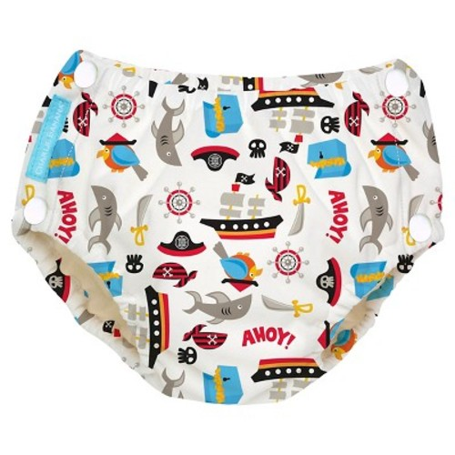 Charlie Banana Reusable Easy Snaps Swim Diaper Black, Pirate, XL